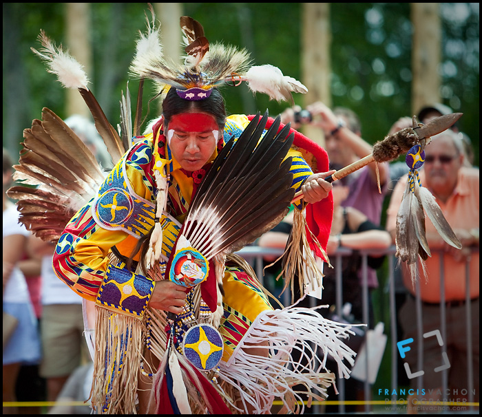 A Cree (Cris) from the Mistawasis First Nation wearing Cree traditional dresses and paint takes part into the dance contest of the Wendake Pow-Wow July 1, 2012. The Algonquian-speaking Cree are one of the largest groups of First Nations / Native Americans in North America, with 200,000 members living in Canada.