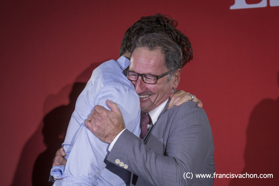 Richard Hebert, Liberal candidate for the byelection in Lac-Saint-Jean, hugs Justin Trudeau during a liberal rally in Dolbeau-Mistassini, Qc, on Thursday October 19, 2017. THE CANADIAN PRESS/Francis Vachon.