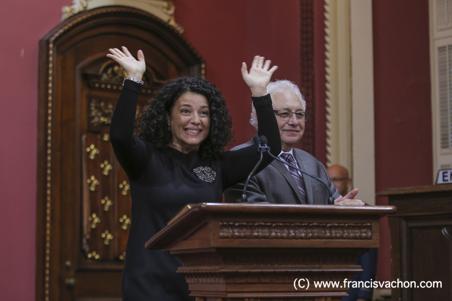 Filomena Rotiroti is sworn in as Presidente du caucus du parti du gouvernement (Caucus president) of the new Liberal cabinet at the National Assembly in Quebec city October 11, 2017. THE CANADIAN PRESS/Francis Vachon.