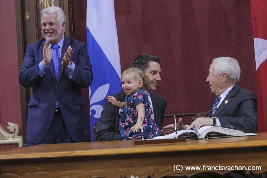 Andre Fortin is sworn in as Ministre des Transports, de la Mobilite durable et de l'Electrification des transports