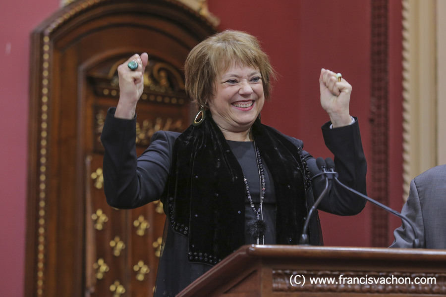 Helene David is sworn in as Ministre responsable de l'Enseignement superieur & Ministre responsable de la Condition feminine (Minister of of Higher Education & Women condition) of the new Liberal cabinet at the National Assembly in Quebec city October 11, 2017. THE CANADIAN PRESS/Francis Vachon.
