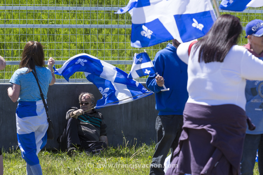 Le groupe ultra-nationaliste Québec libre en action manifeste dans la zone de libre expression à La Malbaie le 9 juin 2018.