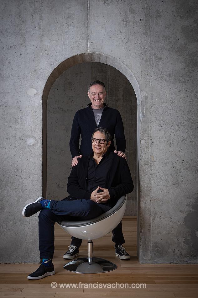 Les comédiens Yves Jacques et Robert Lepage à Québec. Francis Vachon pour Le Devoir.